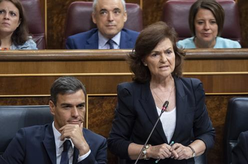 Carmen Calvo, en imagen de archivo en el Congreso de los Diputados