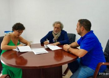 Sara Lobato, José Chamizo y Daniel Pérez Cumbre, reunidos