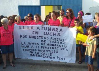 Reciente protesta en las puertas de la Escuela Infantil La Atunara