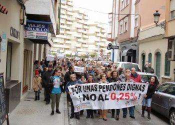 Manifestación en defensa de las pensiones públicas en La Línea, el año pasado.