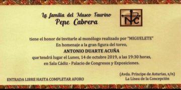 Invitación al monólogo que ofrecerá Miguelete