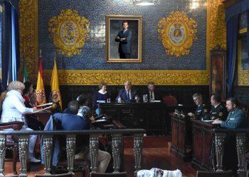 Un momento de la reunión en el salón de plenos