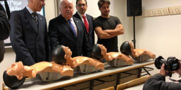 Imagen del consejero Aguirre (en el centro) en un acto en Córdoba en el que también ha estado nuestro compañero Pablo Gómez (a la derecha)
